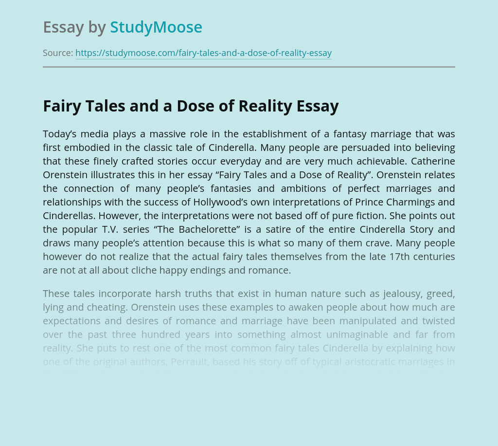Fairy Tales and a Dose of Reality