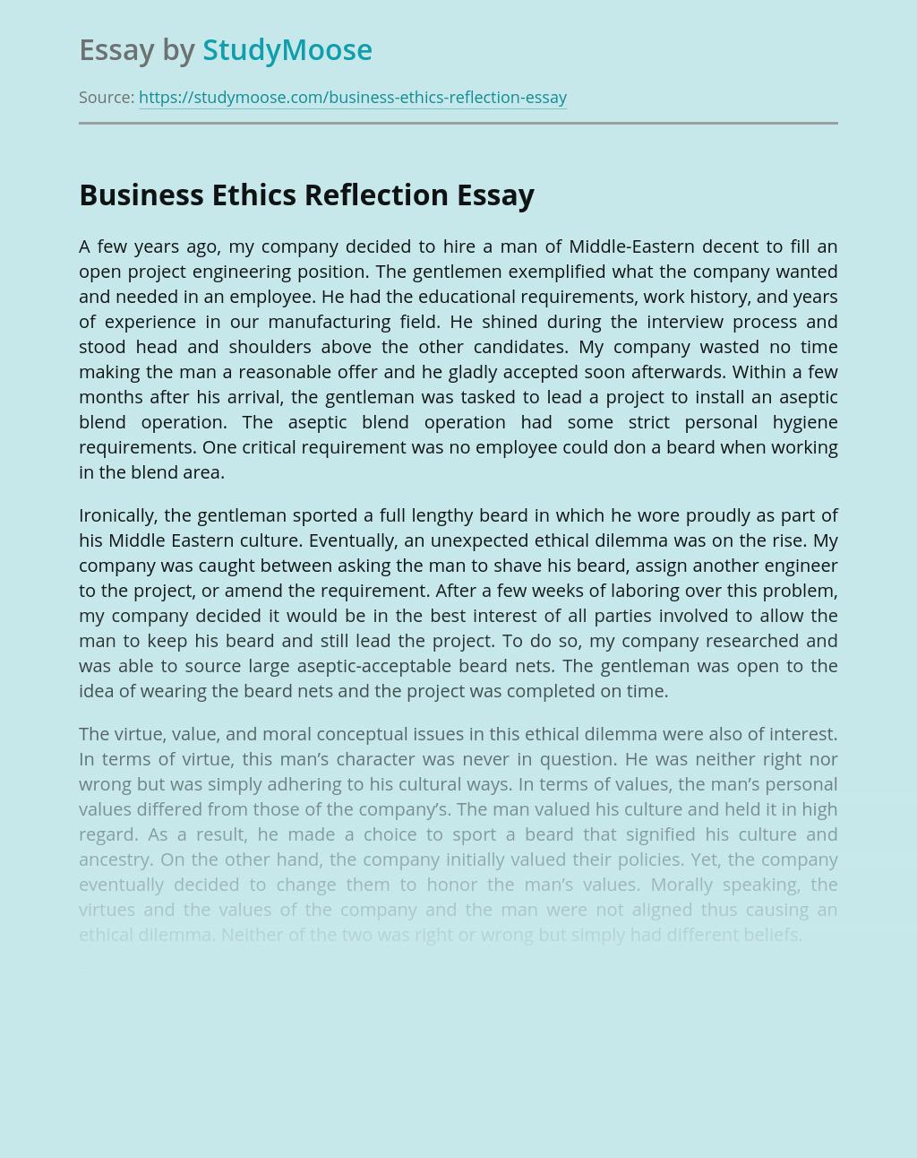 Business Ethics Reflection