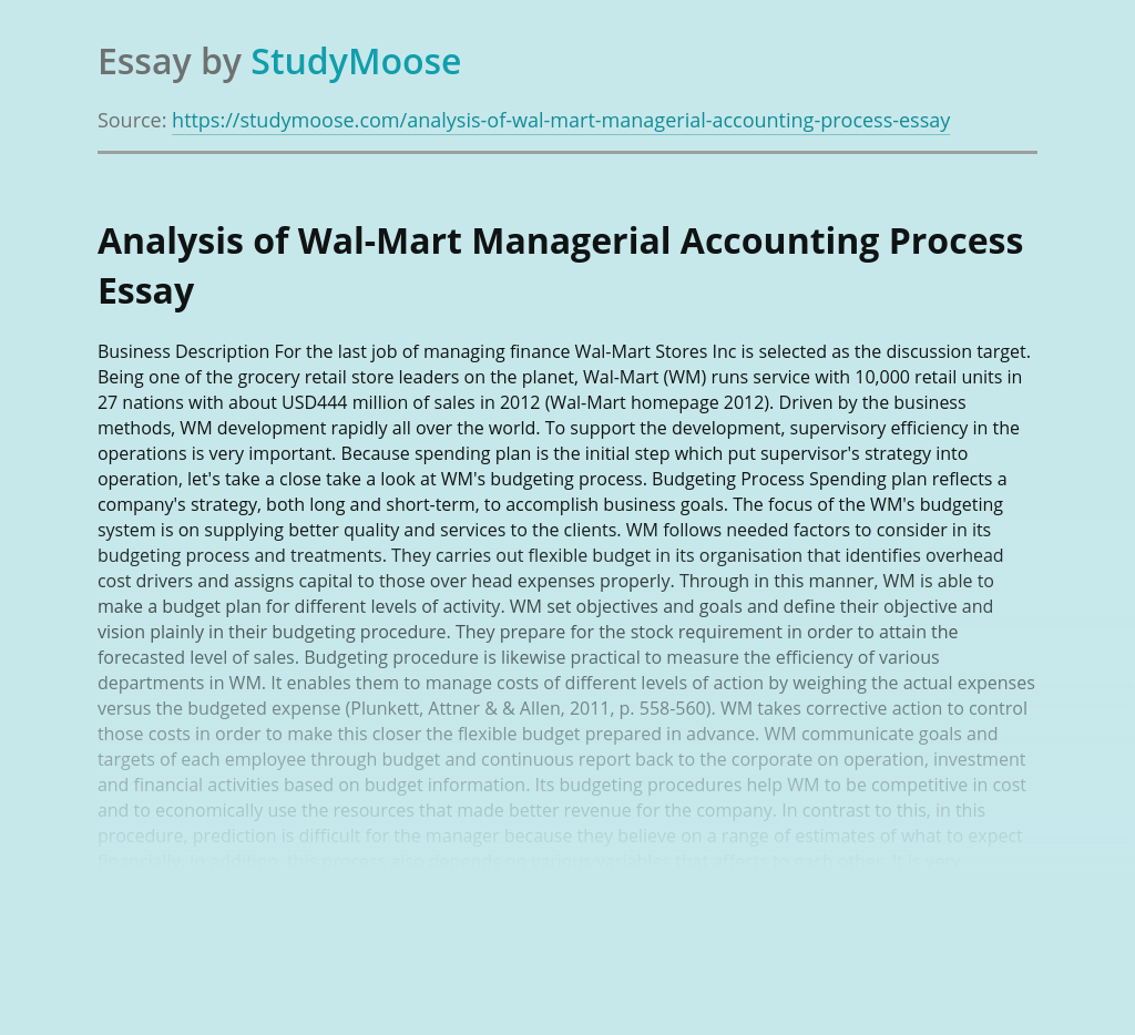 Analysis of Wal-Mart Managerial Accounting Process