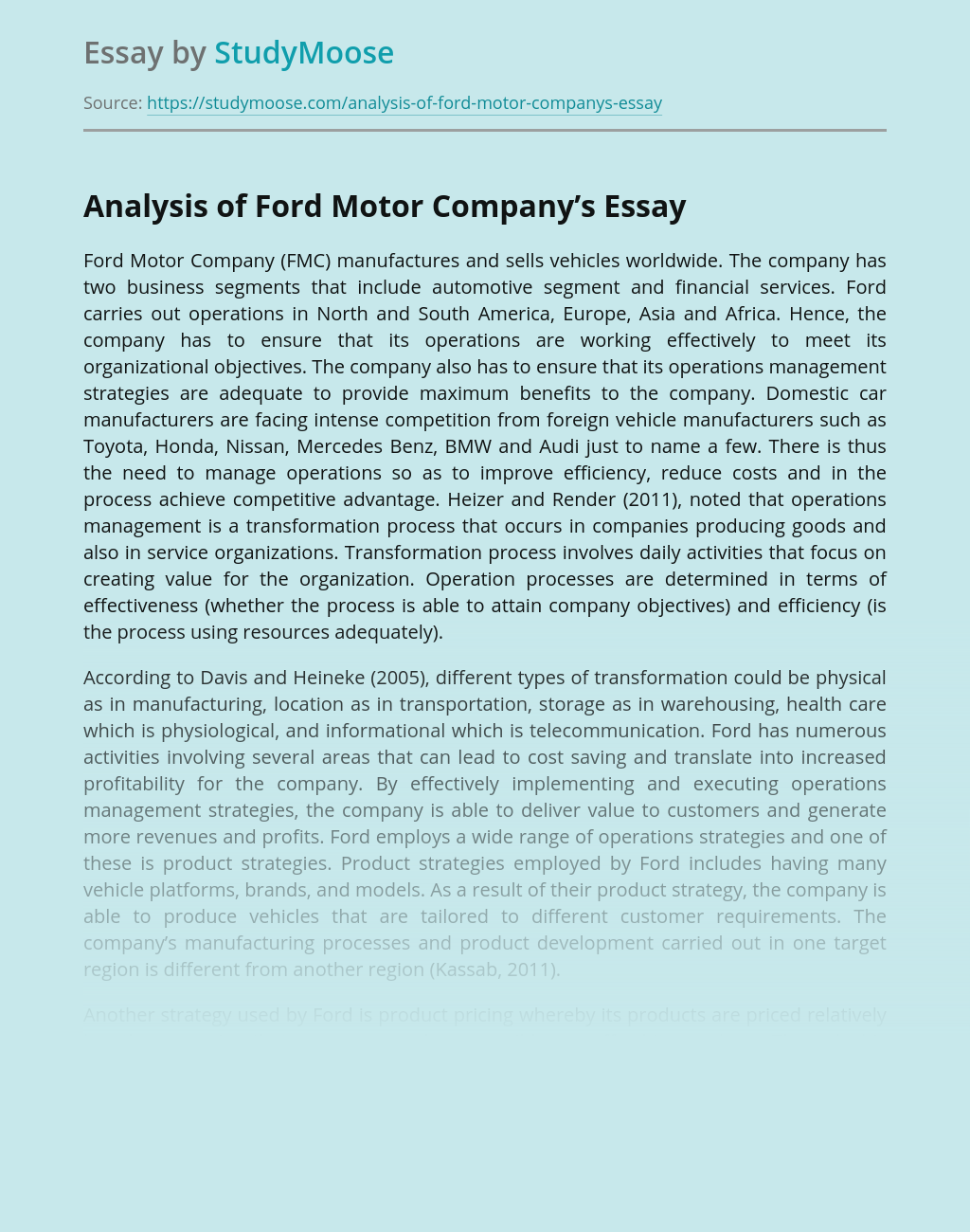 Analysis of Ford Motor Company's