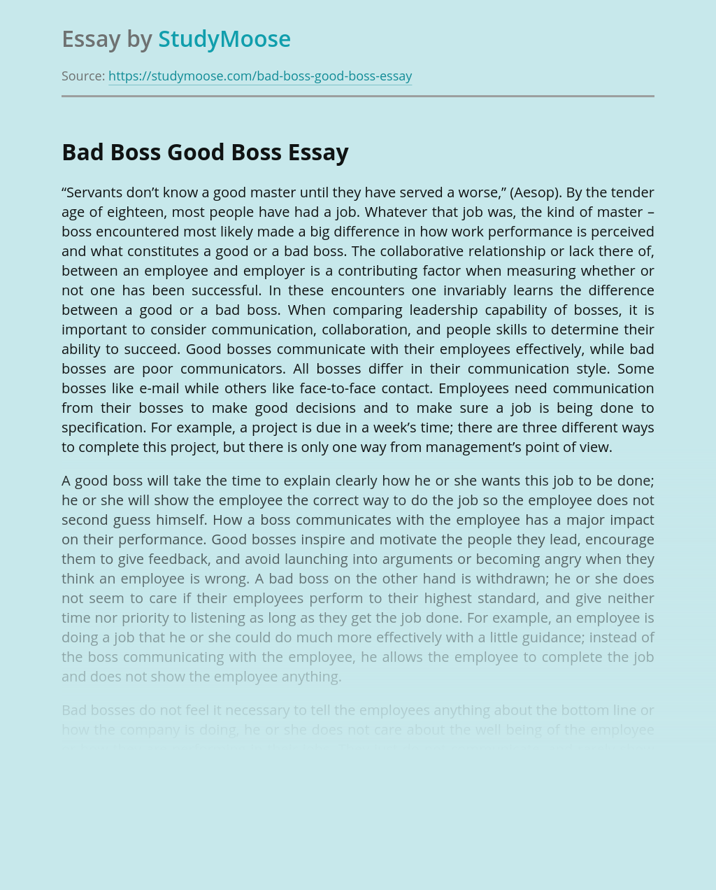 Bad Boss Good Boss