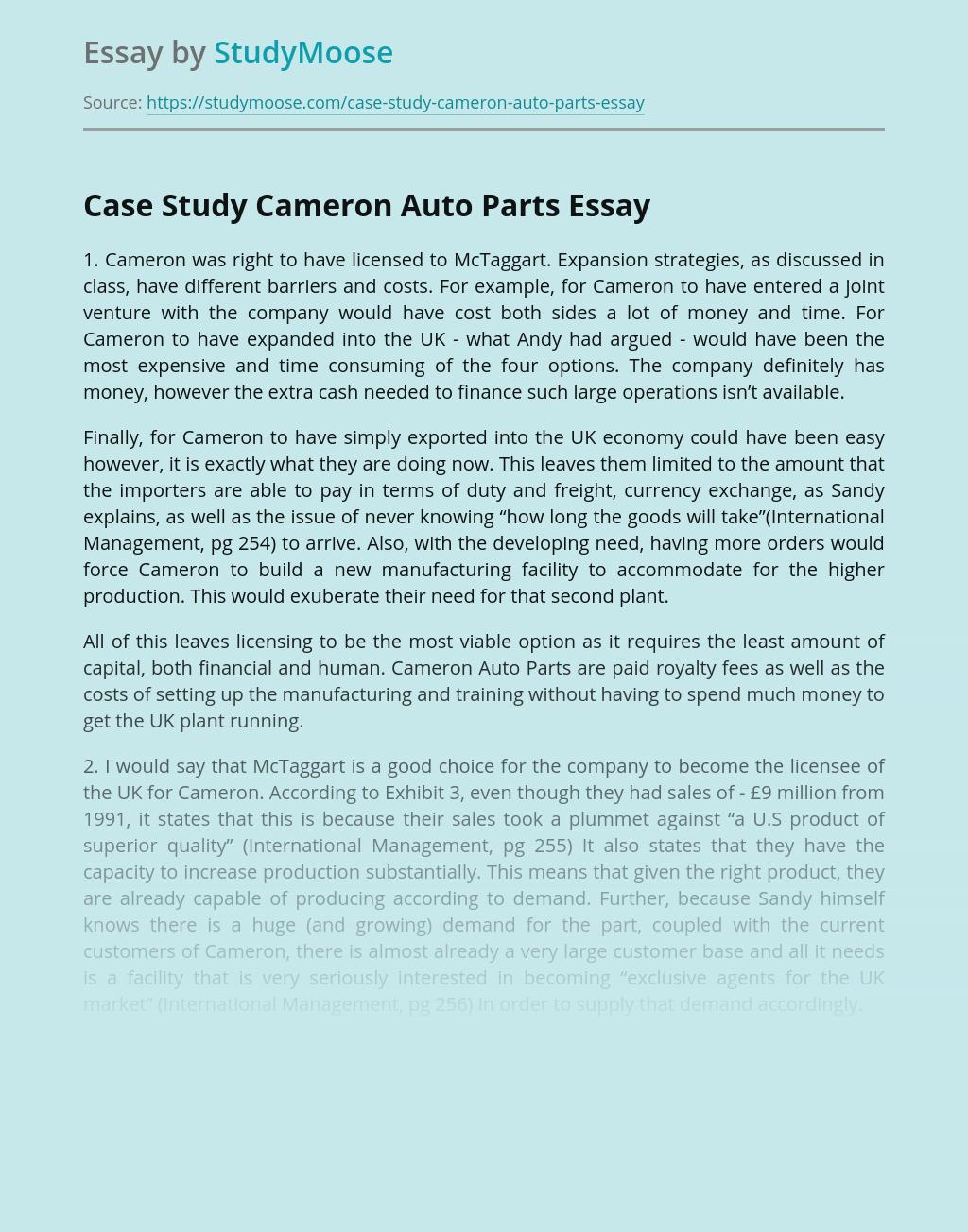 Case Study Cameron Auto Parts