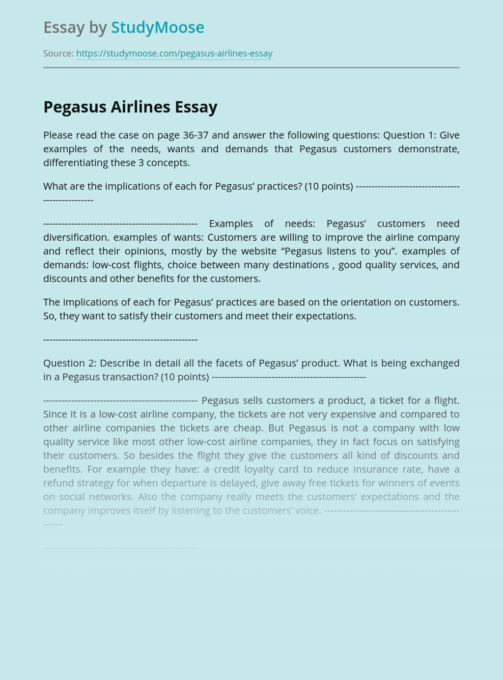 Overview of Pegasus Airlines Company