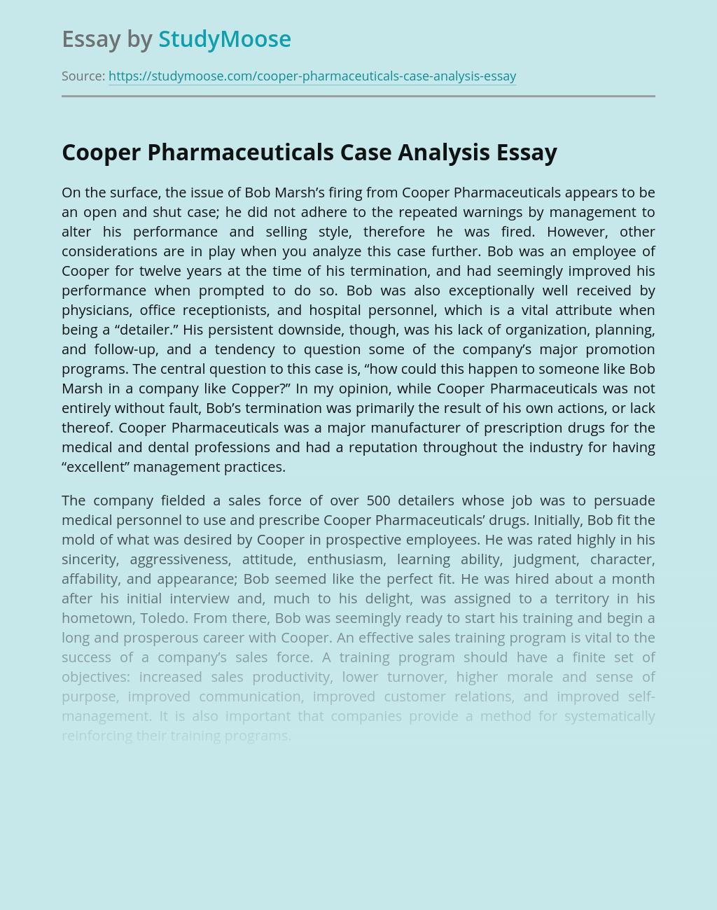 Cooper Pharmaceuticals Case Analysis