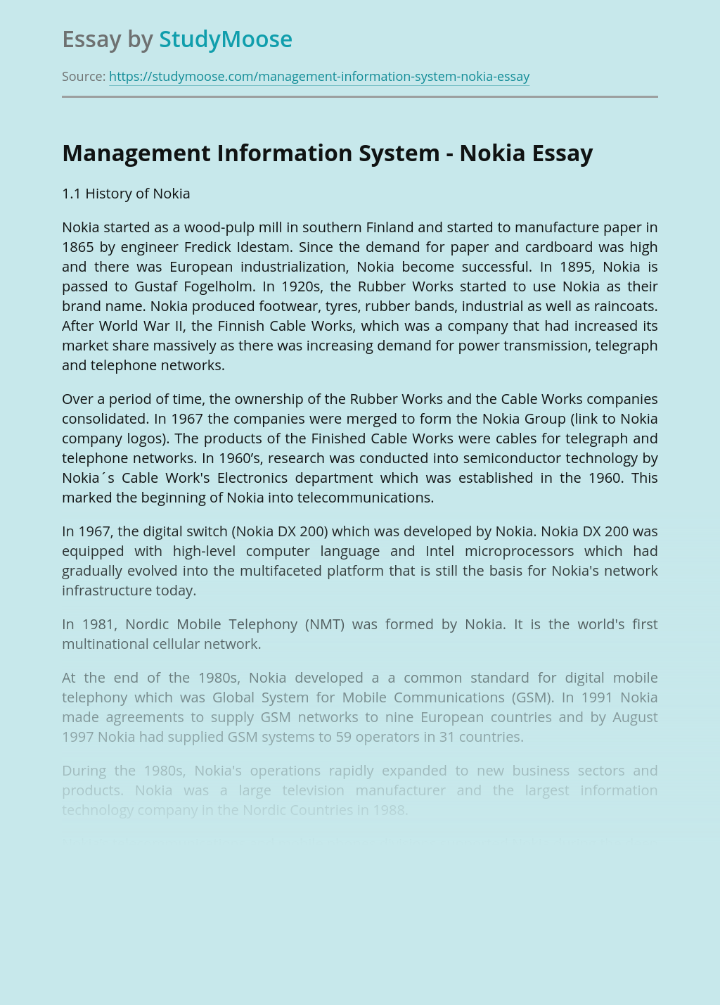 Management Information System - Nokia