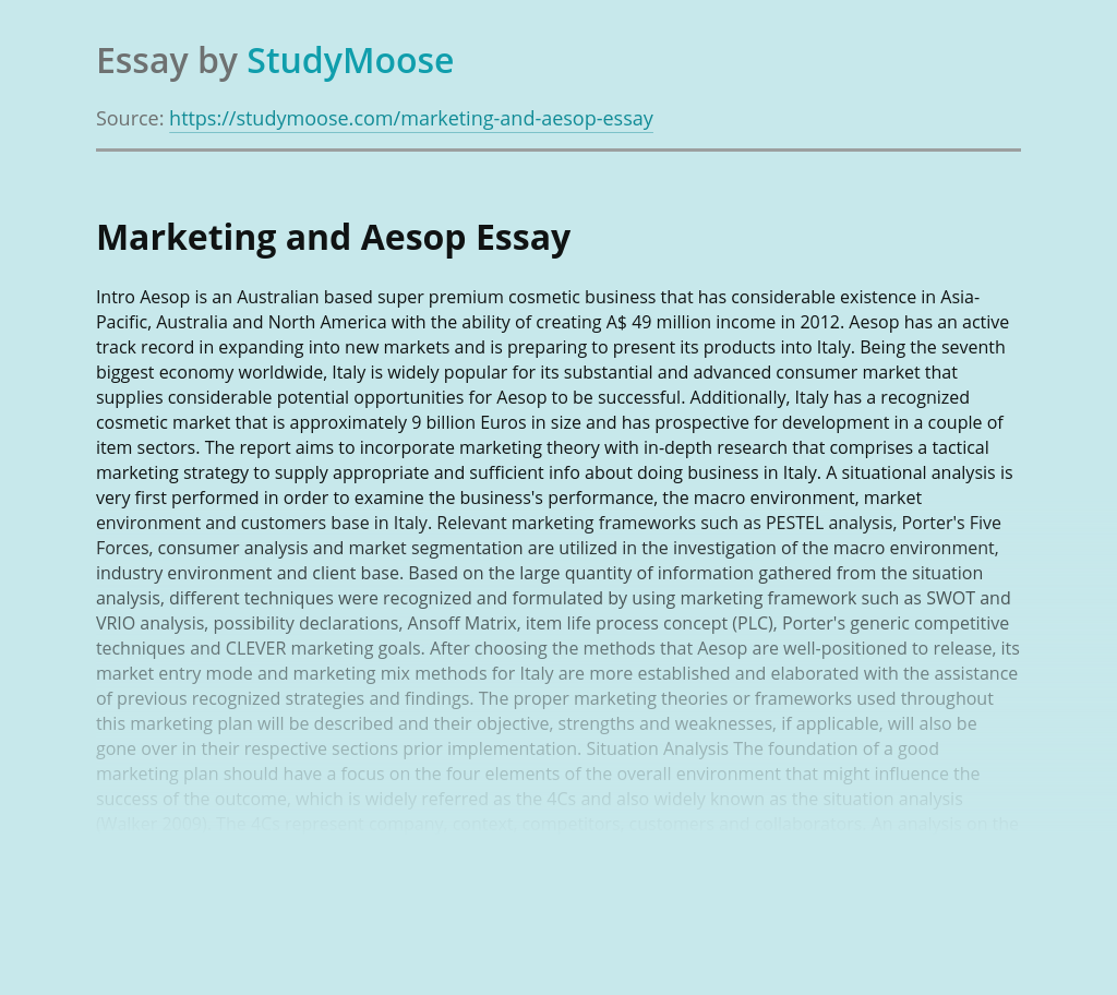 Marketing and Aesop