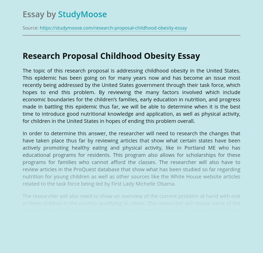 Research Proposal Childhood Obesity