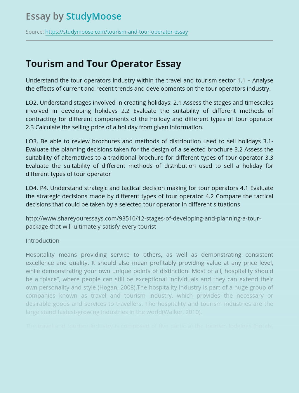 Tourism and Tour Operator