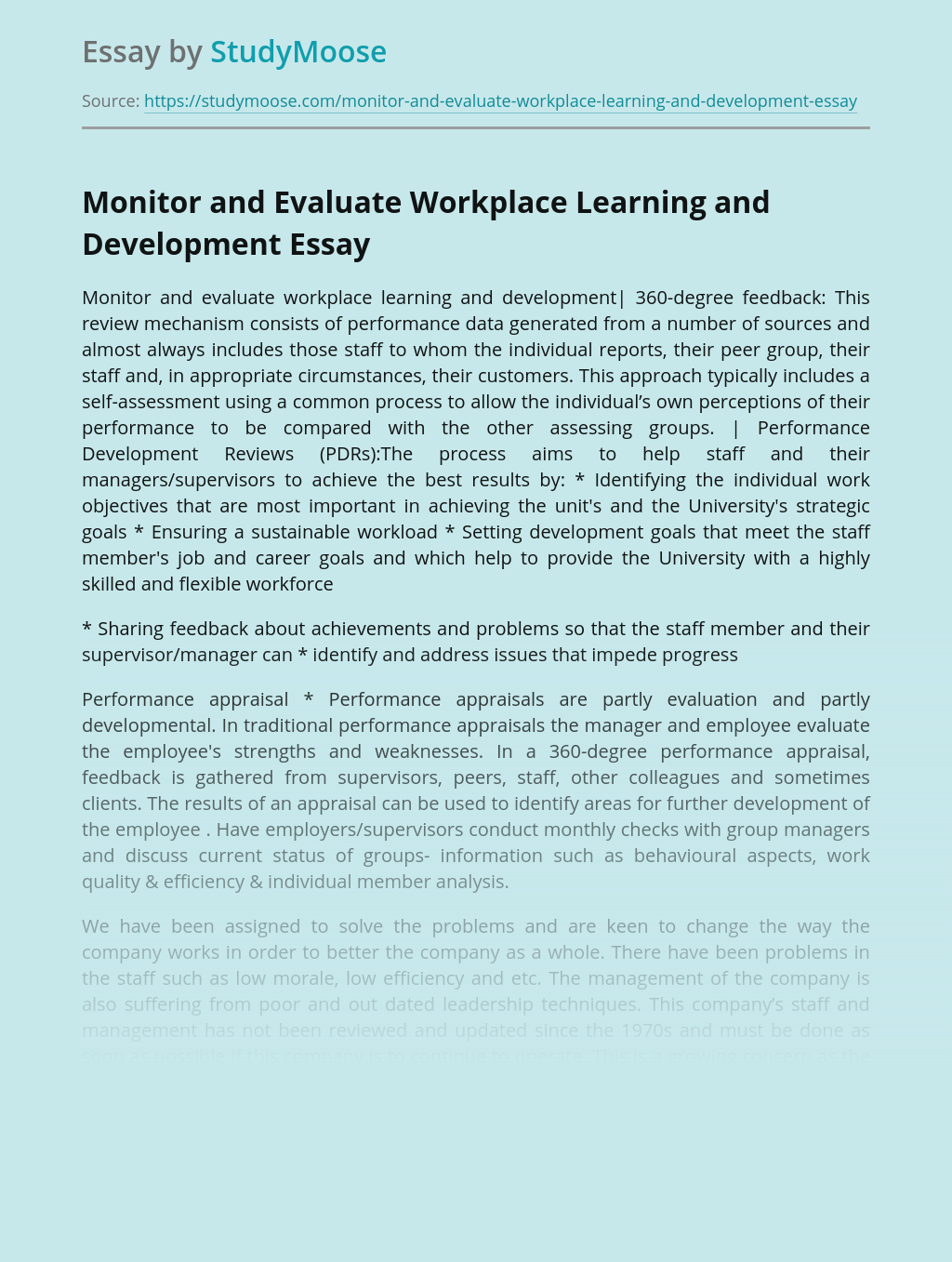 Monitor and Evaluate Workplace Learning and Development