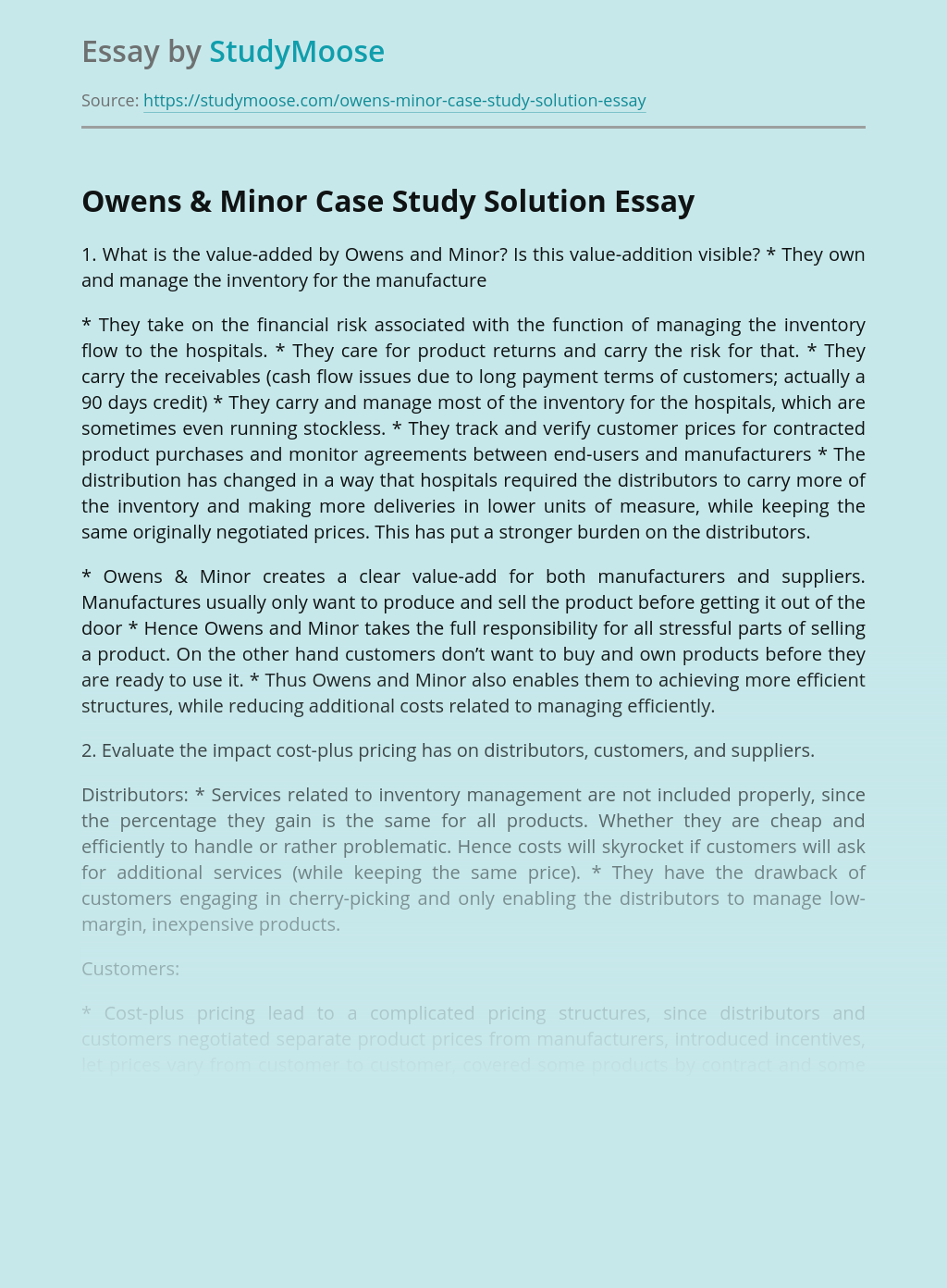 Owens & Minor Case Study Solution