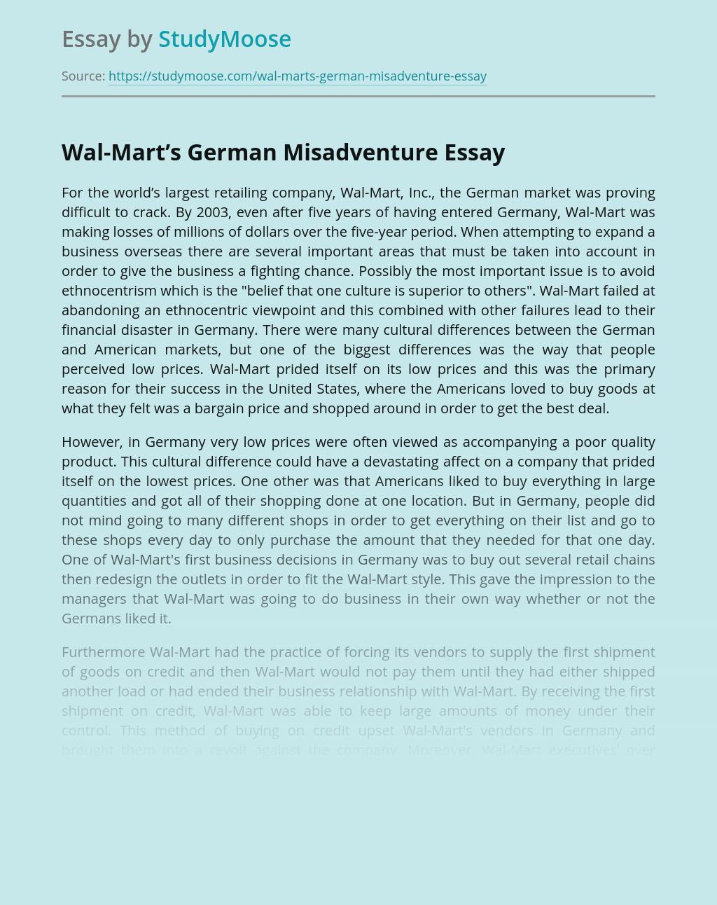 Wal-Mart's German Misadventure