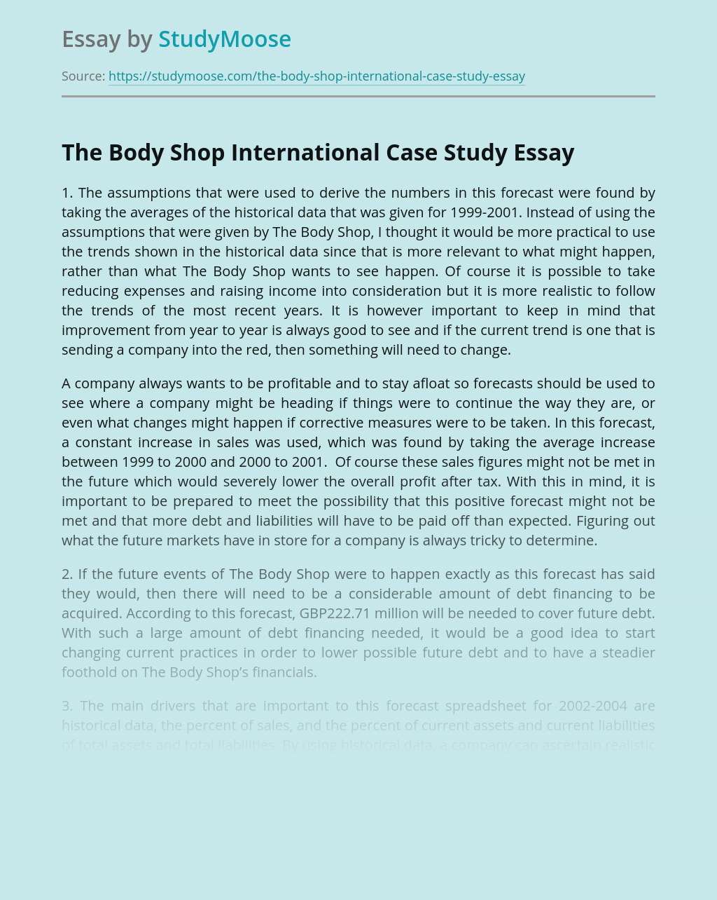 The Body Shop International Case Study