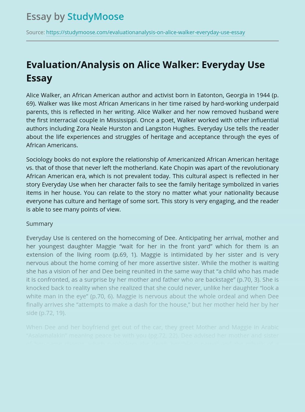 Evaluation/Analysis on Alice Walker: Everyday Use