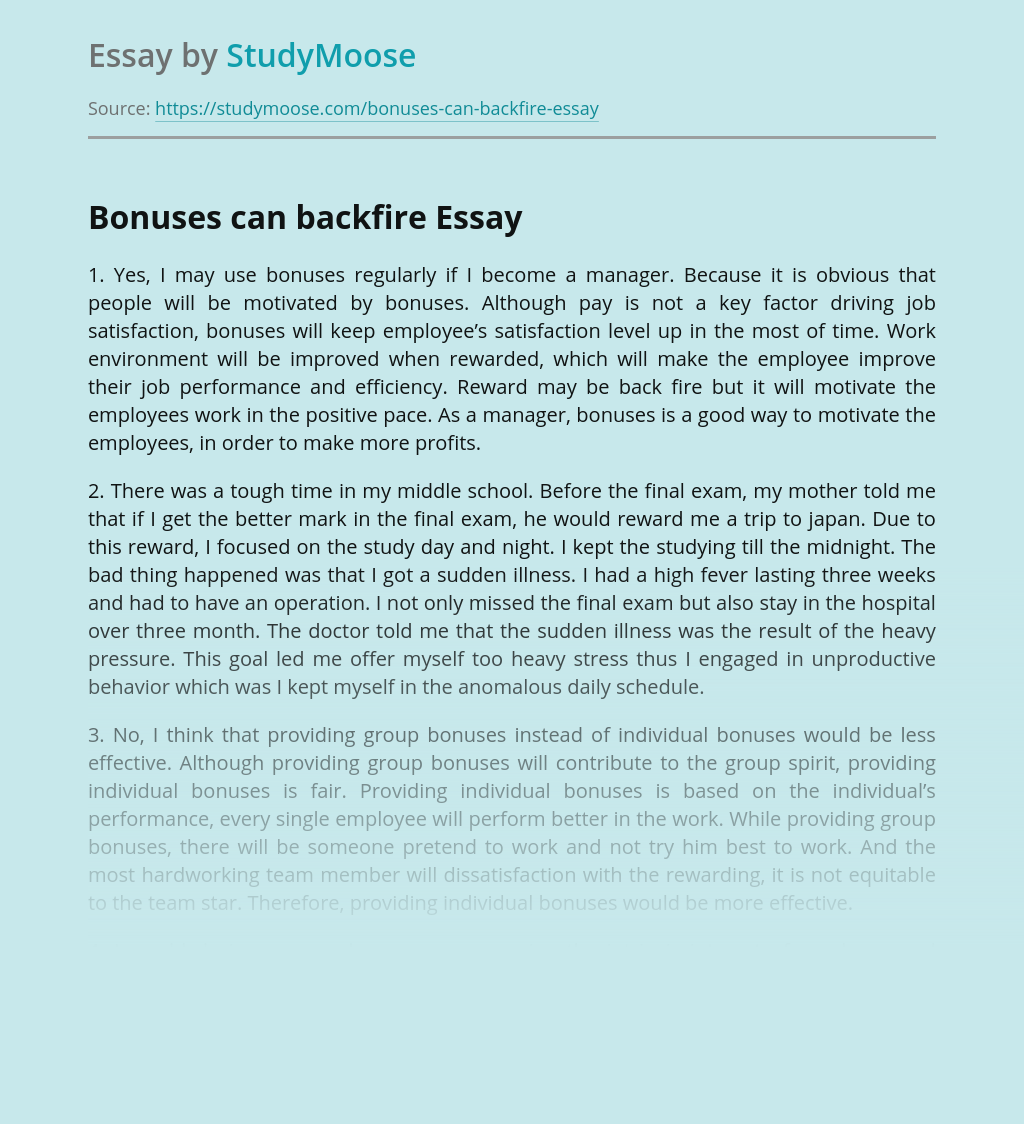 Bonuses as a motivation of employees