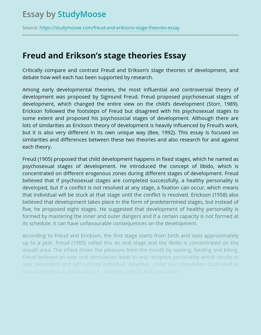 Freud and Erikson's stage theories