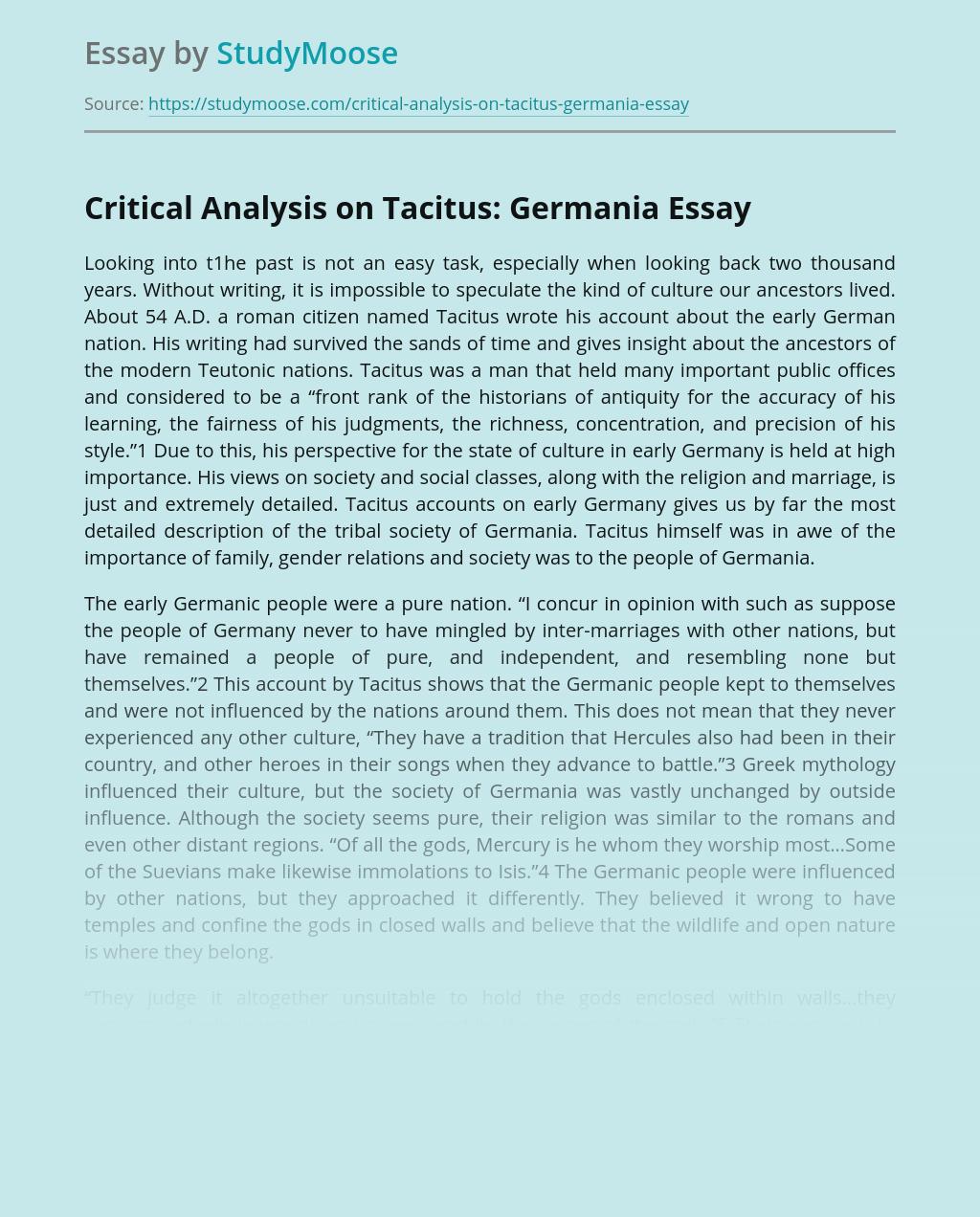 Critical Analysis on Tacitus: Germania