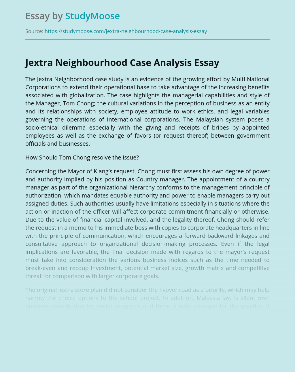 Jextra Neighborhood Corporation Case Analysis