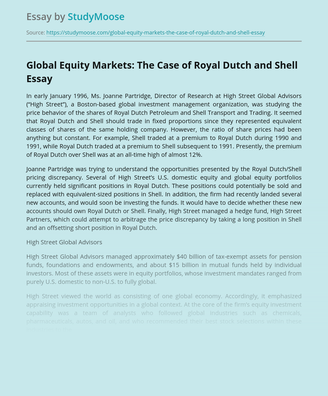 Global Equity Markets: The Case of Royal Dutch and Shell