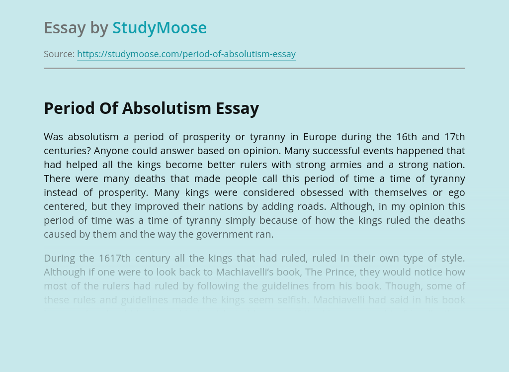 Period Of Absolutism