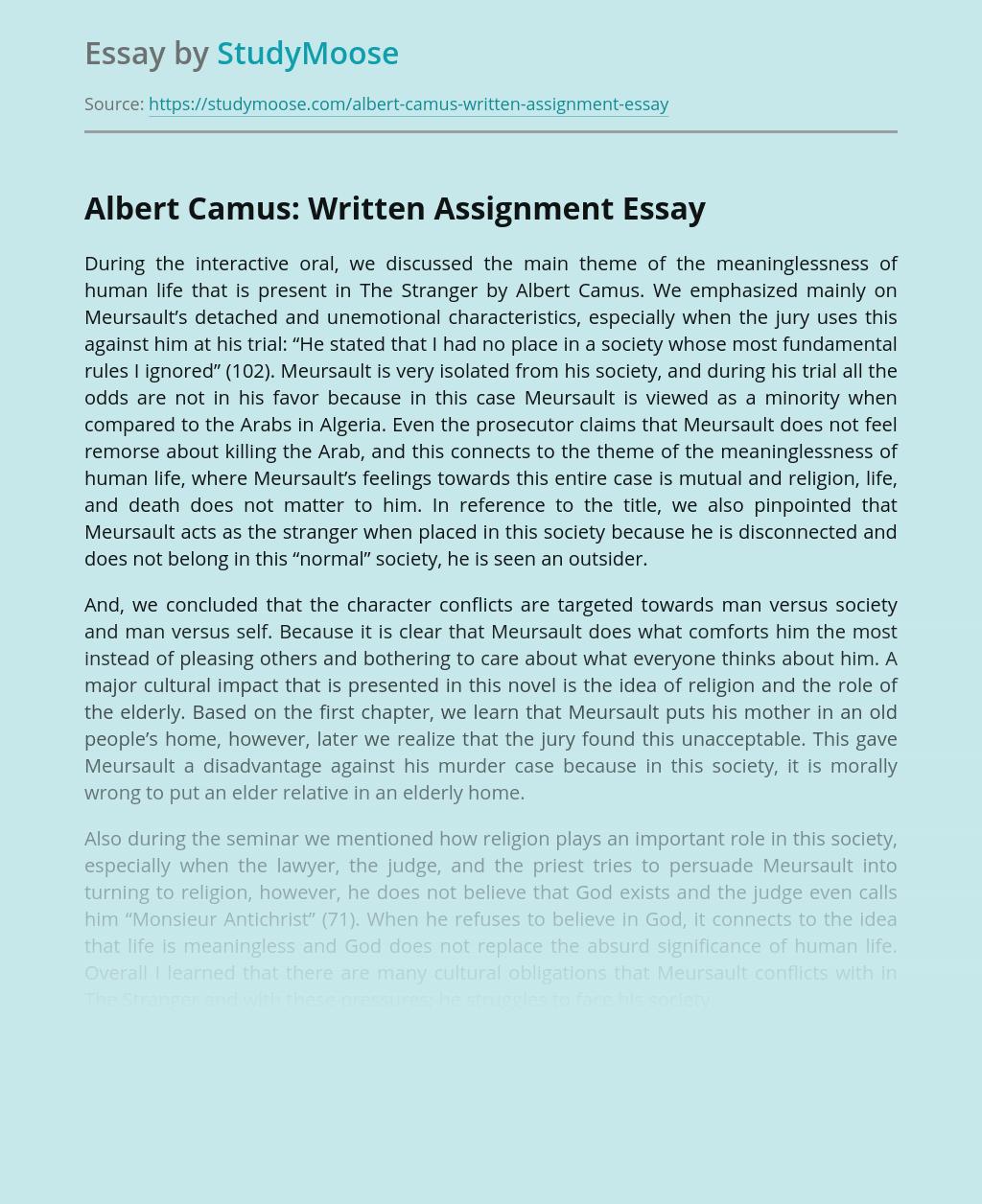 Albert Camus: Written Assignment