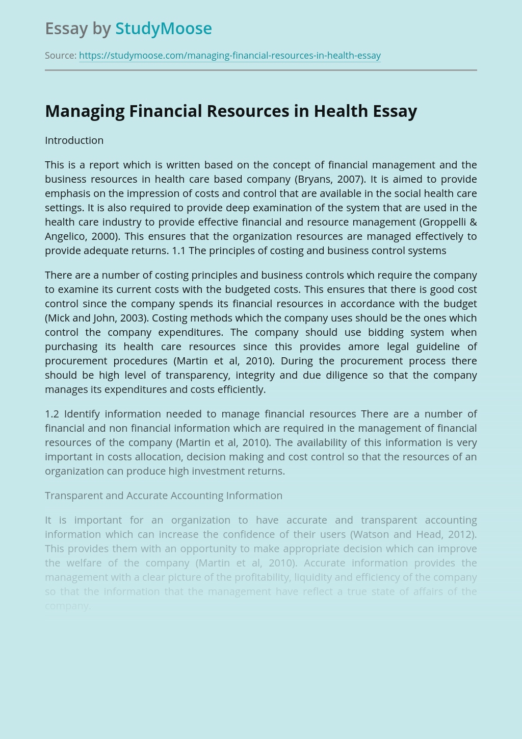 Managing Financial Resources in Health