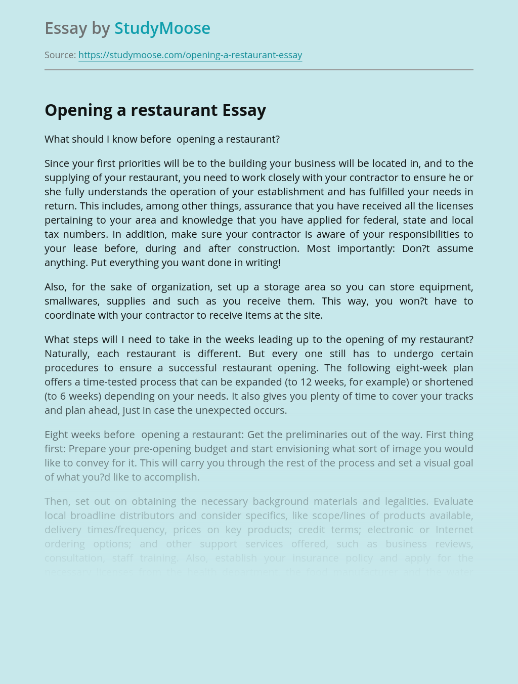 Opening a restaurant