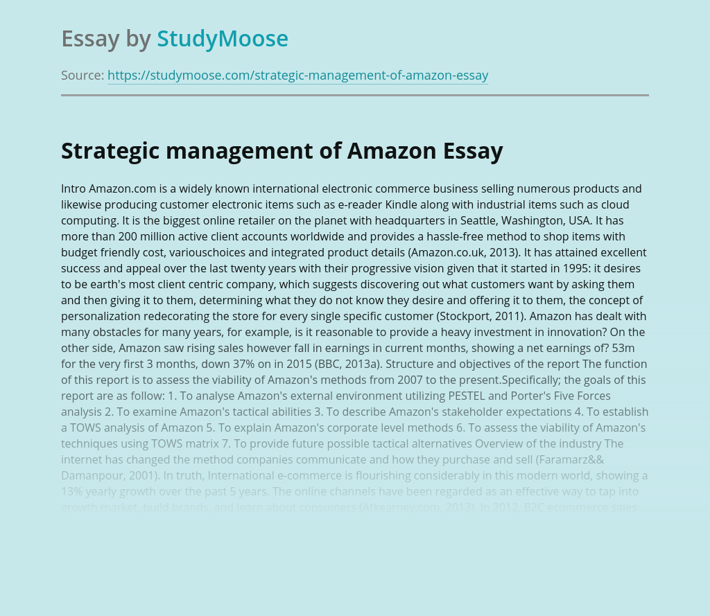 Strategic management of Amazon