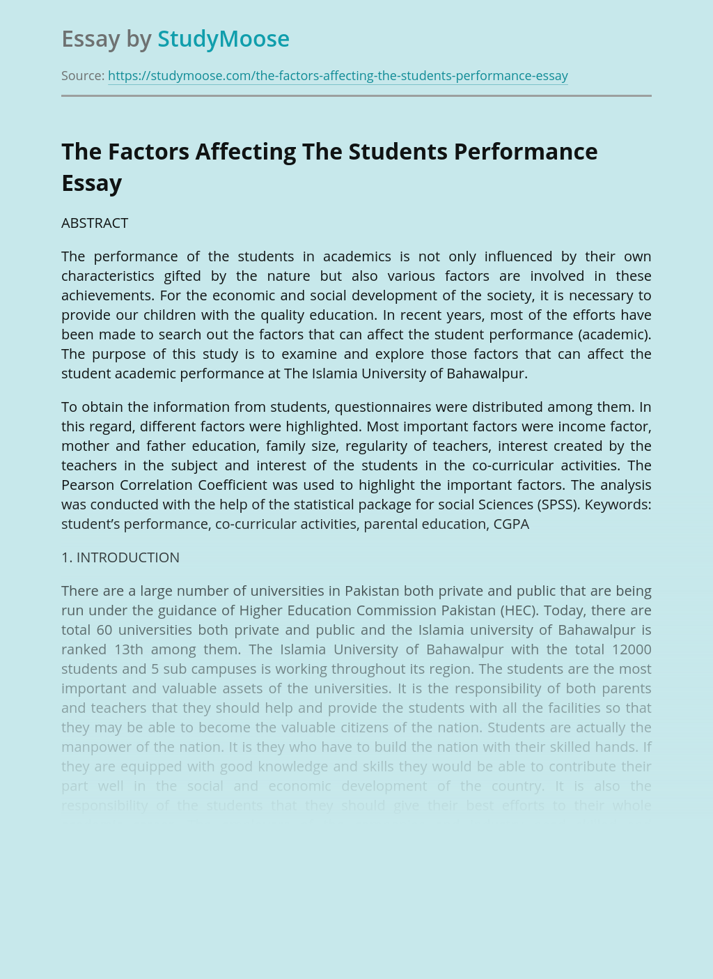 The Factors Affecting The Students Performance in Pakistan