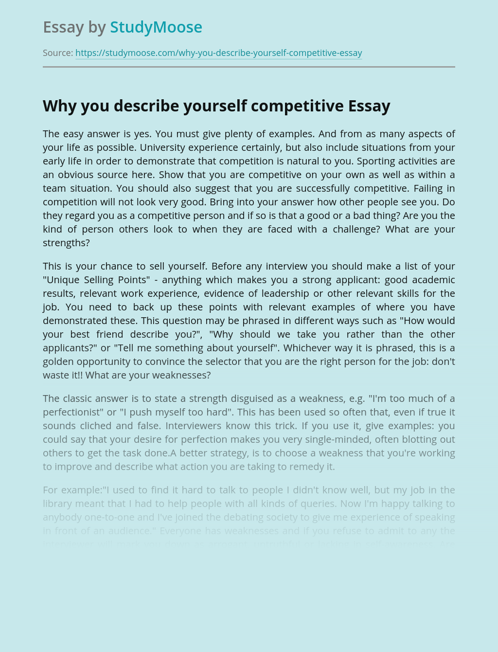 Why you describe yourself competitive