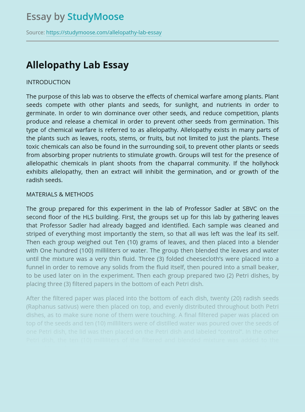 Allelopathy Lab Report