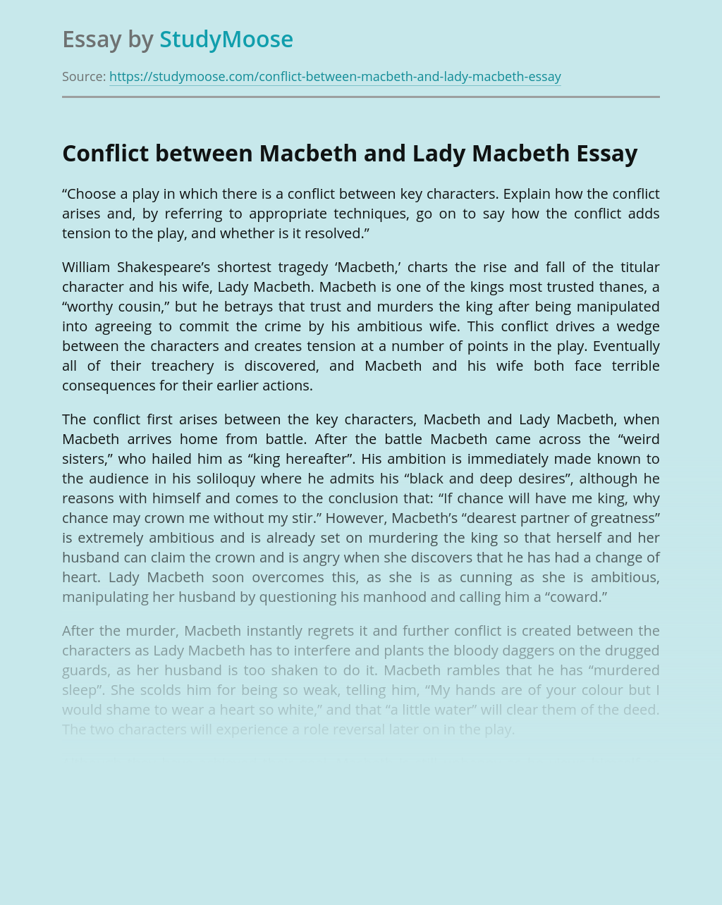 Conflict between Macbeth and Lady Macbeth