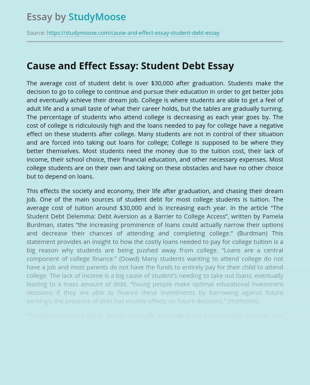 Cause and Effect Essay: Student Debt