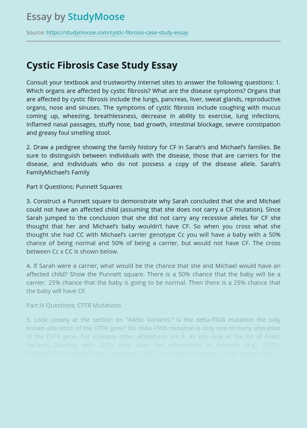 Cystic Fibrosis Case Study