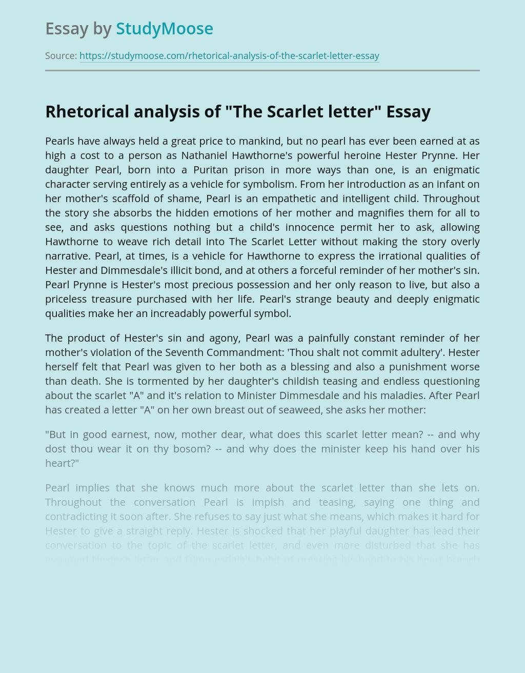 """Rhetorical analysis of """"The Scarlet letter"""""""