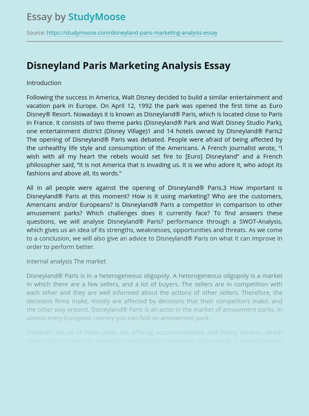 Disneyland Paris Marketing Analysis