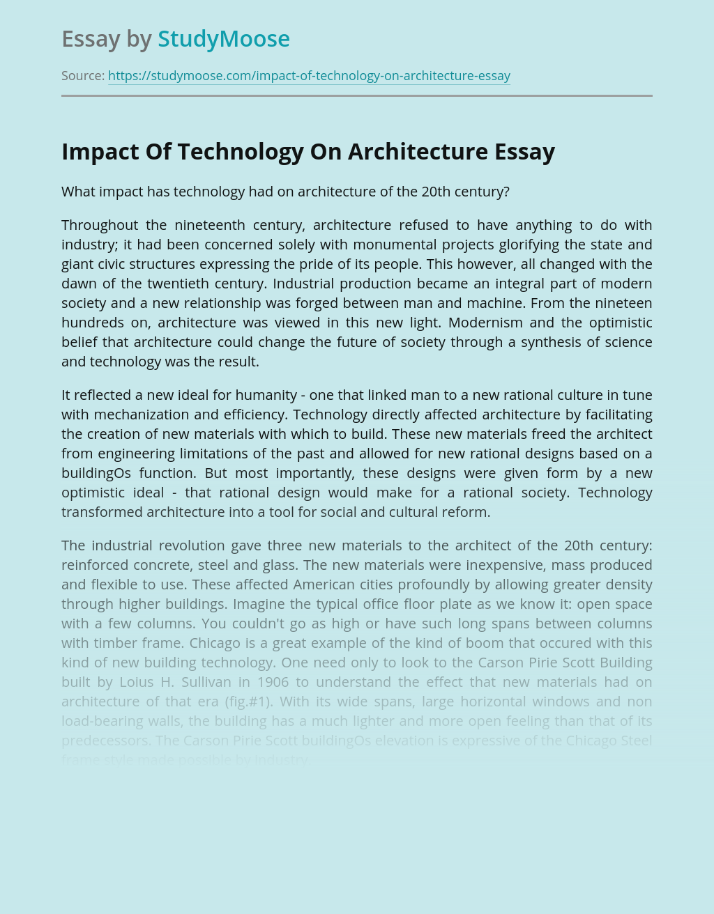Impact Of Technology On Architecture