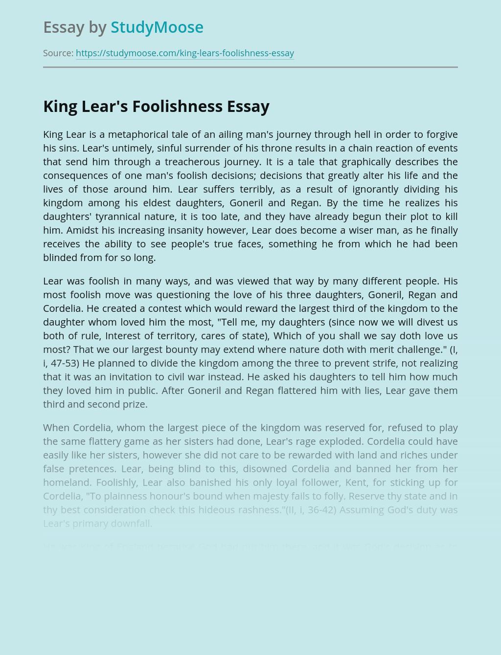 King Lear's Foolishness