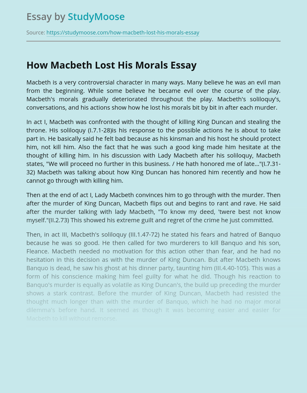 How Macbeth Lost His Morals