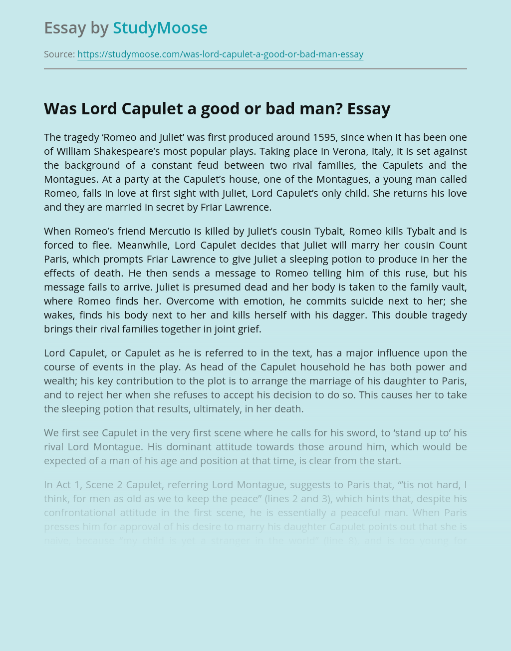 Character Traits of Lord Capulet