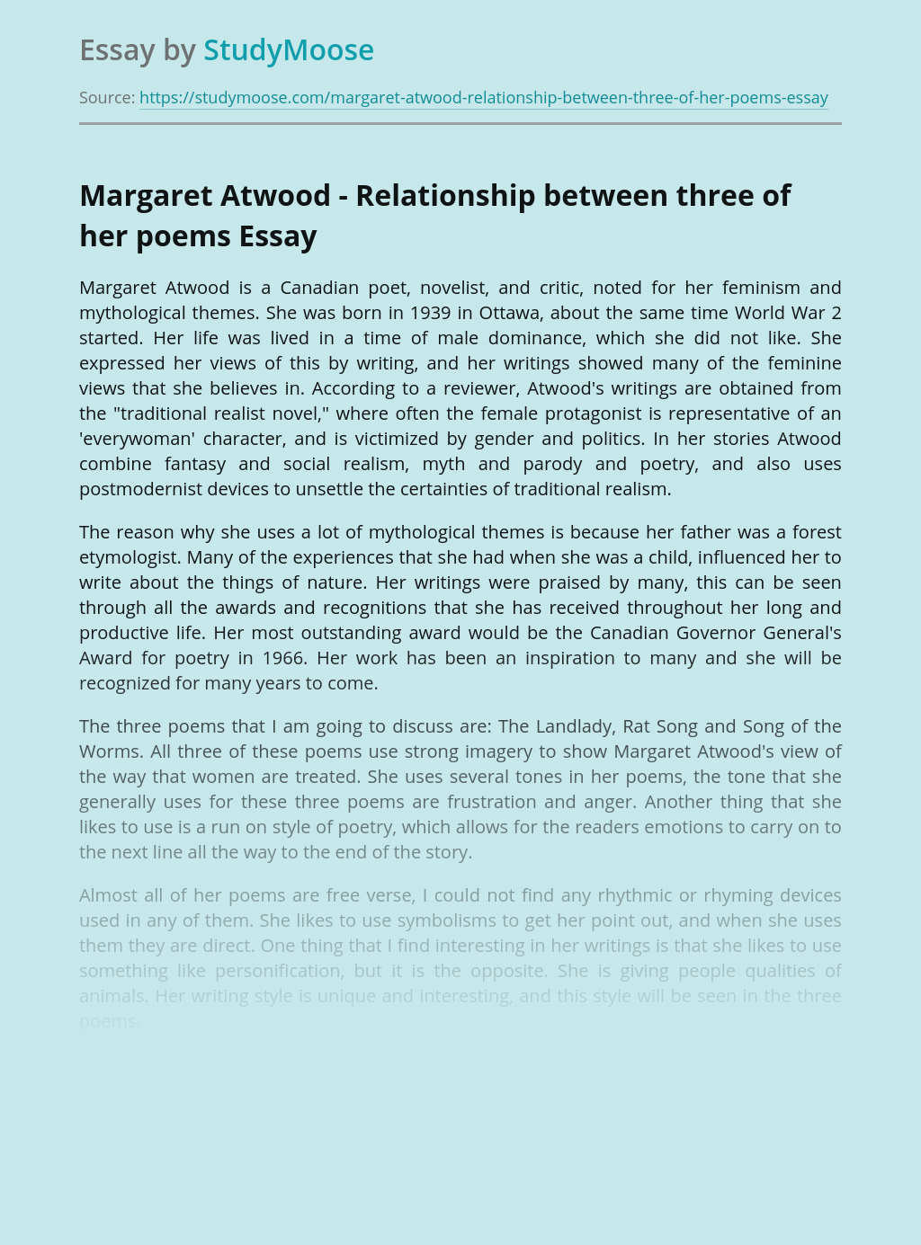 Margaret Atwood - Relationship between three of her poems