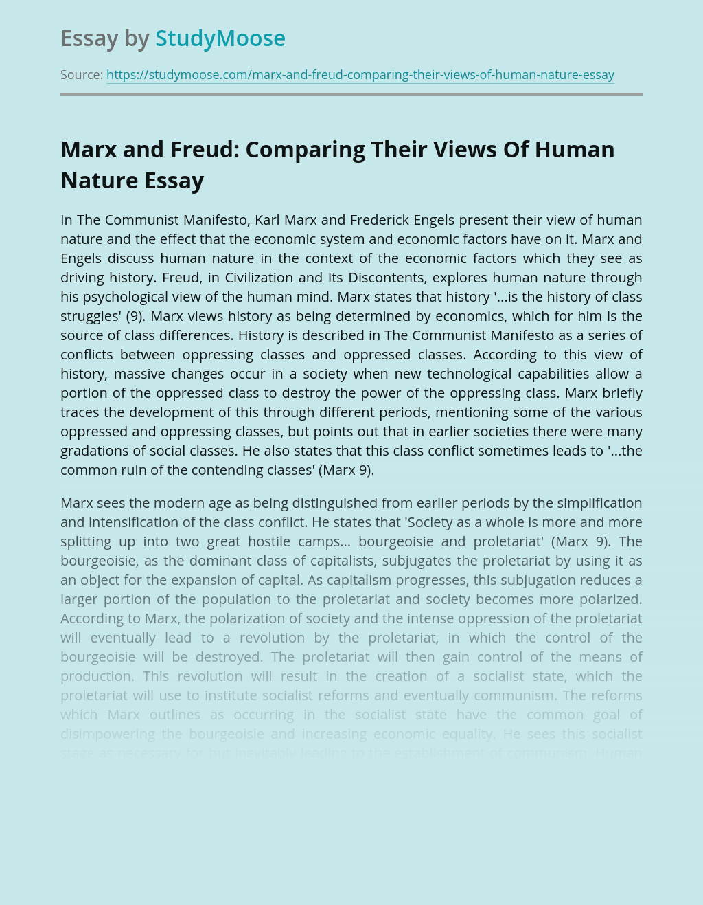 Marx and Freud: Comparing Their Views Of Human Nature