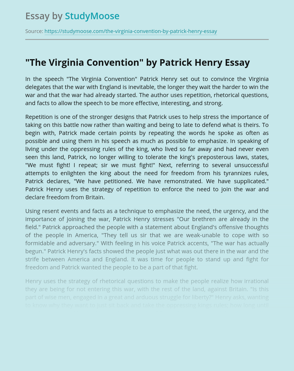 """""""The Virginia Convention"""" by Patrick Henry"""