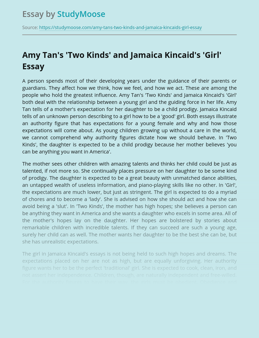Amy Tan's'Two Kinds' and Jamaica Kincaid's'Girl'