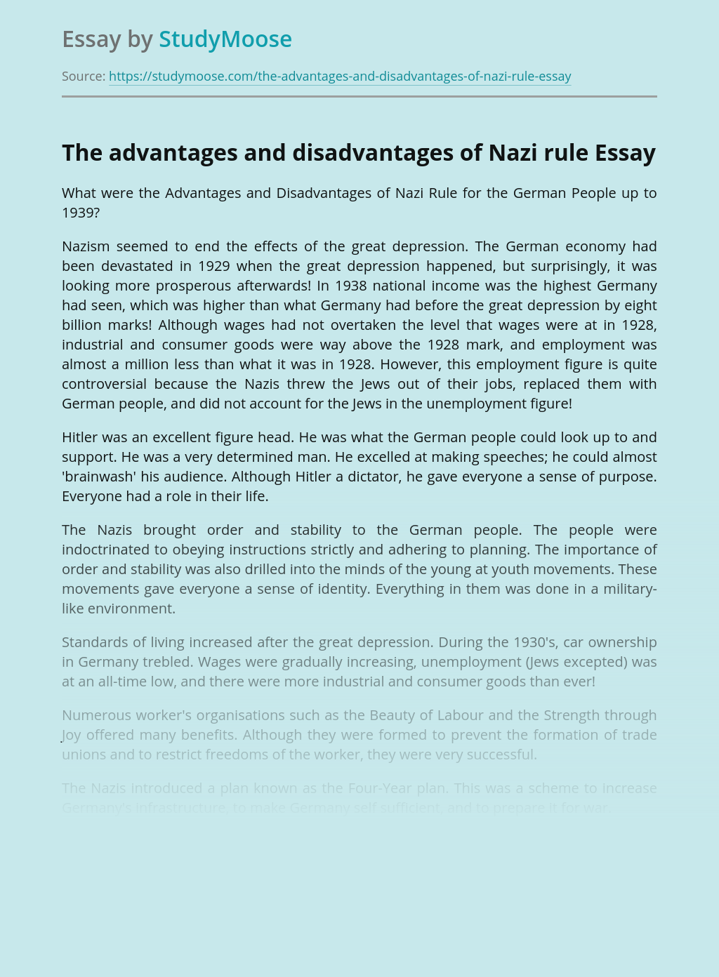 The advantages and disadvantages of Nazi rule