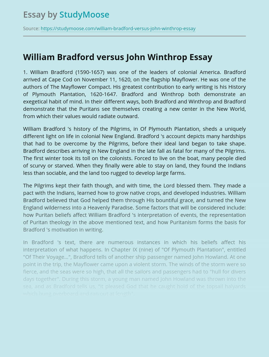 Colonization of America by Bradford and Winthrop