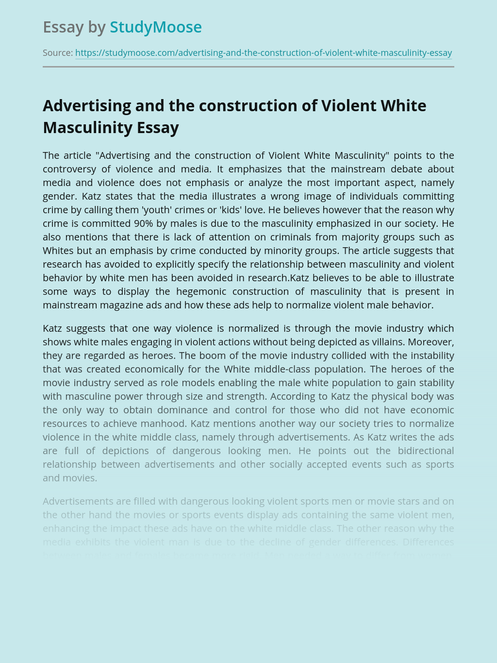 Advertising and the construction of Violent White Masculinity