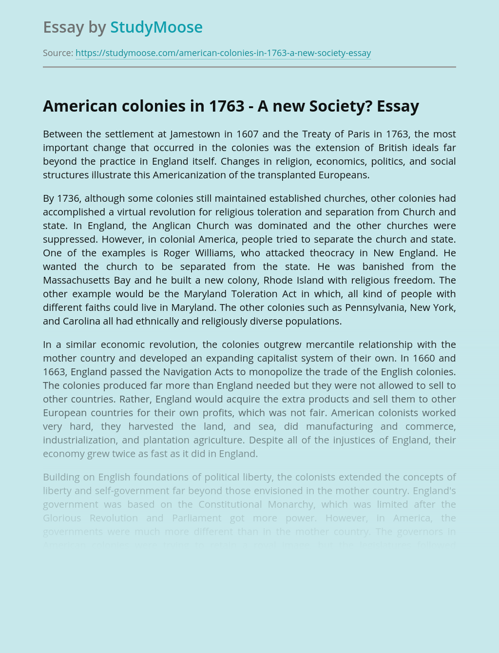 American colonies in 1763 - A new Society?