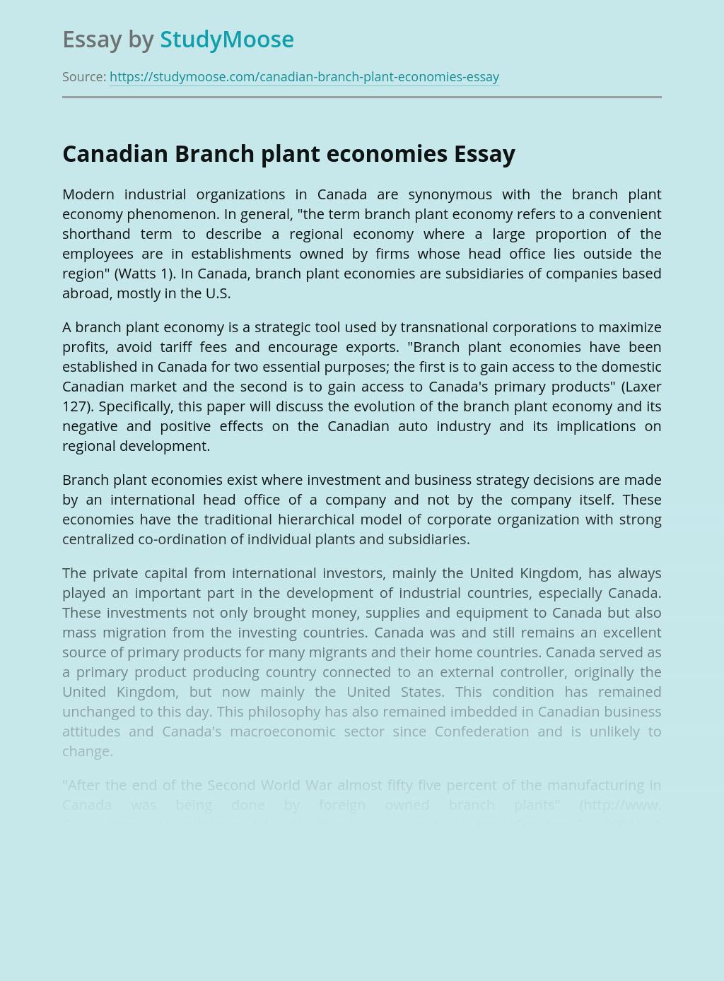 Modern Industrial Organizations In Canada