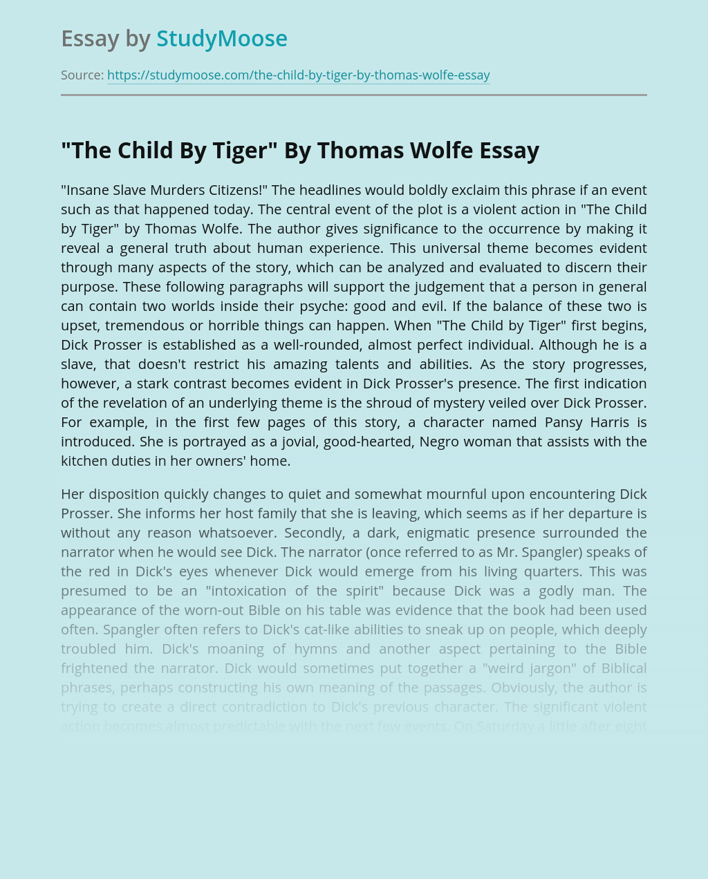 """""""The Child By Tiger"""" By Thomas Wolfe"""