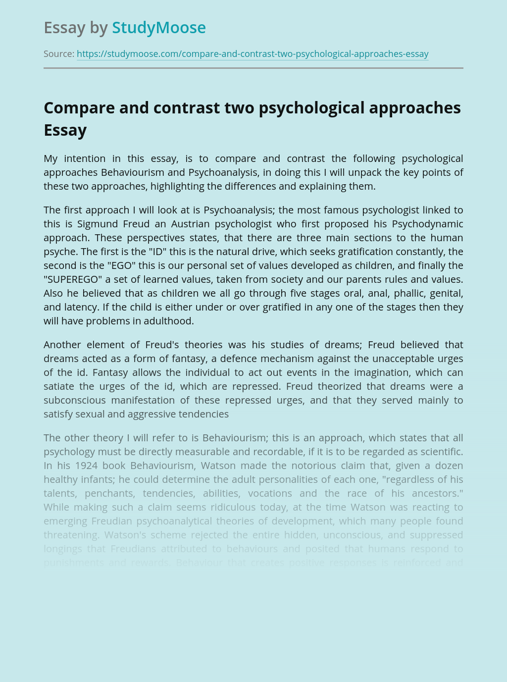 Compare and contrast two psychological approaches